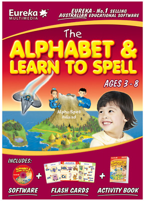 Eureka Multimedia The Alphabet & Learn to Spell Software+Flashcards+Book AGE 3-6