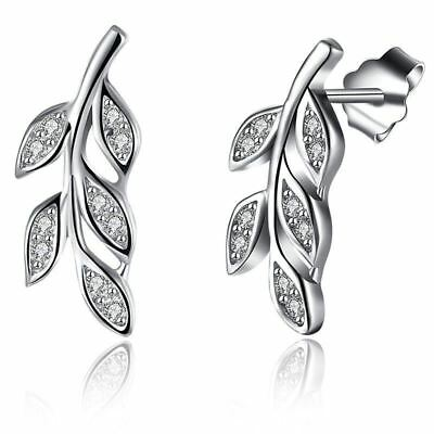 925 Sterling Silver Cubic Zirconia Olive Leaf Branch Stud Earrings 1 Pair S2G3