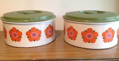 RETRO COLLECTABLE VINTAGE METAL WILLOW ORANGE CAKE DAISY TINS 60's 70's CANISTER