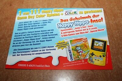 Ferrero Werbekarte Happy Hippo Snack Gameboy 2001