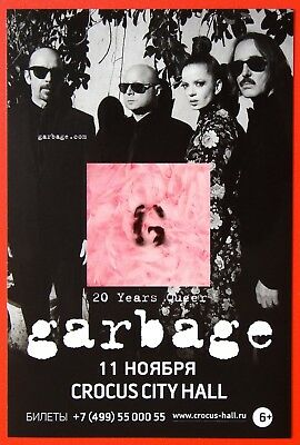 250009 Moscow Concert ~GARBAGE 20 Years Queer ~Original Russian card mini poster