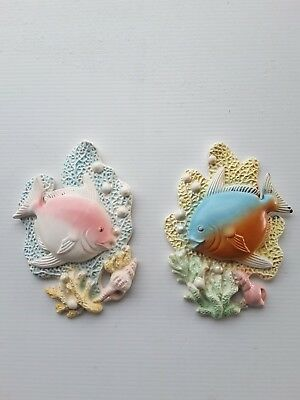 Pair of vintage Retro  Pottery  Fish Wall Plaques