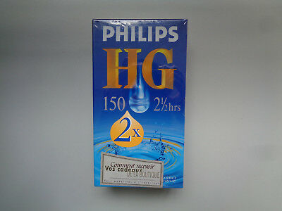 2-Pack Cassette Video Vierge PHILIPS HG E-150 pour Magnetoscope - K7 VHS Neuf