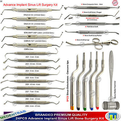 Dental Implant Elevators Sinus Lift Osteotome Bone Graft Packers Pluggers 24PCS