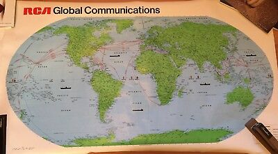Vintage 1980 RCA Global Communications World Map (Rand McNally & Co.) 25x44""