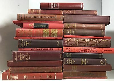 Lot of 5 Red Antique Vintage Current Books Decorator Set *MIXED LOT*f