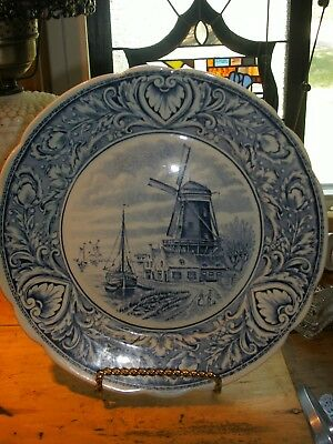VINTAGE Delfts Boch  Royal Spinx Holland Hanging Plate 10 INCHES WINDMIL/BOATS