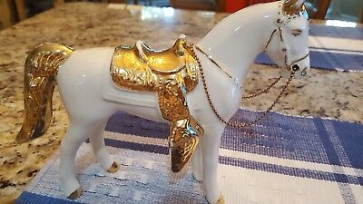 Vintage Sabin Porcelain Western Horse with Gold Trim