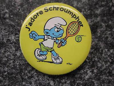 Smurfs Badge or Button with clip Tennis Smurf vintage rare