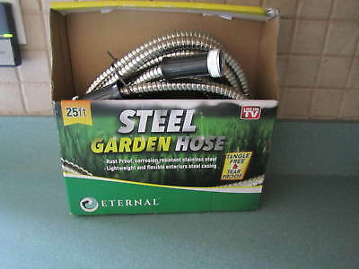 Stainless Steel Metal Garden Hose Heavy-Duty Spiral Constructed New, 25 Ft