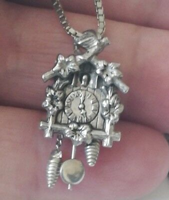 Vintage, Solid Silver, Marked, Black Forest Cuckoo Clock With Box Chain