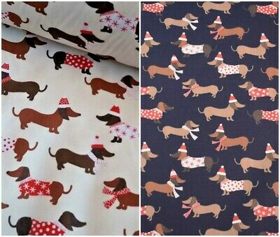 Christmas  Fabric Dachshund Sausage Dog Poly Cotton  Sewing Material Fq Metres