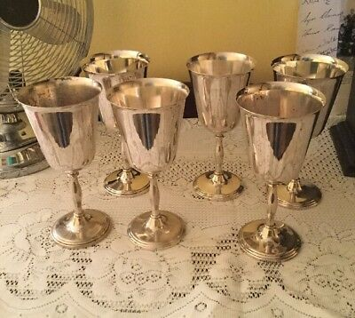 Set Of Six Cavalier Silver Plate On Brass Goblets