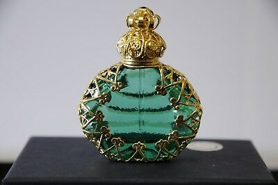 Green Czech Glass Miniature Perfume Bottle with Gold Tone Filigree & Crystals