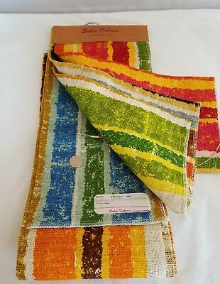 Vintage 5th Ave Design Fabric LINEN 1+ YD & Samples Stripes