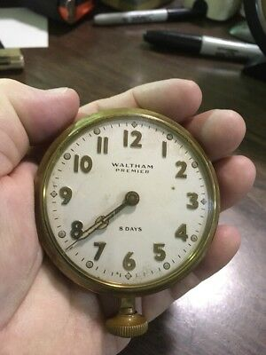 Waltham Watch Co. Car Clock Premier 8 Day Wind up Working!