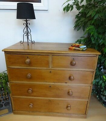 Lovely Large Vintage Wooden Cottage Chest Of Drawers Two Over Three