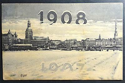 Postcard New Year 1908 Riga Image Russia? Lots of postmarks -