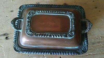 Copper Dish Fancy Maybe Master Salt Maybe Silver Plate at One Time Neat Antique