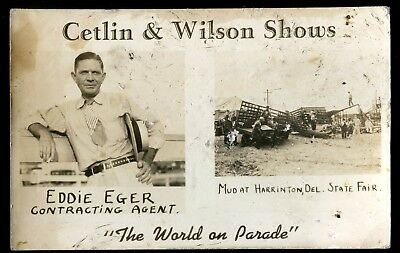 Real Photo Postcard Rppc Harrinton Delaware State Fair Cetlin Wilson Shows
