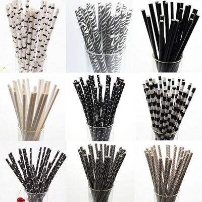 25Pcs Black Paper Extra Wide Fat Jumbo Boba Drinking Bubble Tea Smoothie Straws