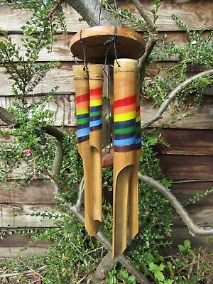 Fair Trade Hand Carved Made Garden Bamboo Rainbow Windchime Mobile Wind Chime