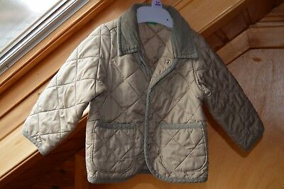 Benetton Green Quilted Jacket, Age 12 months, Cord Collar.