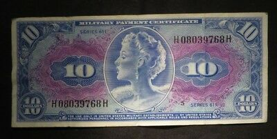 Series 611 $10 Ten Dollar- Military Payment Certificate- Nice Note