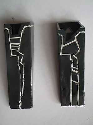 Pair of Wallpockets by Carol Daw ?50's Black Impressed White Design Exc con