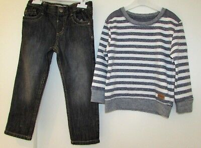 Boys Jeans & Jumper 3-4 Years Grey Mix Used Good Condition Denim Co & Rebel