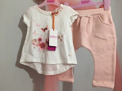 New Baby Girls Designer Ted Baker Floral Bunny Quilted Outfit Top & Bottoms 9-12