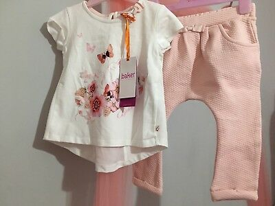 New Baby Girls Designer Ted Baker Floral Bunny Quilted Outfit Top& Bottoms 12-18