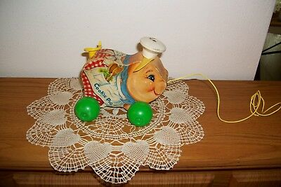 Vintage Fisher Price 1965 Cookie Pig Pull Along Toy # 476