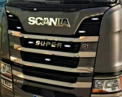 To Fit Scania Euro 7 Radiator Grille Trims Super Polished Stainless Steel 8 Pcs
