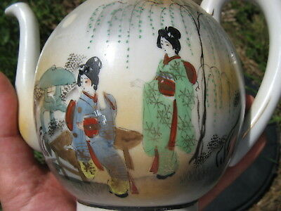 "Antique Porcelain Teapot is cracked, Beautiful Asian Painting, Marked, 7""w X 5""h"