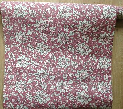 Laura Ashley floral wallpaper 1994 Victorian burgundy and sand  print 3+ rolls