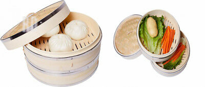 10 Inch Bamboo Steamer by Harcas. 2 Tier. Best for Dim Sum, Vegetables, Meat and