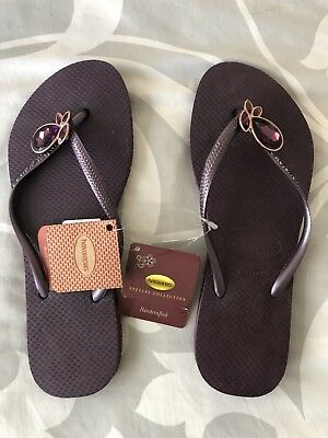 ea9c99cd62e029 NWT Havaianas Special Collection Flip Flops 39-40 In Purple With Crystal  80