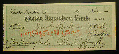 1921 Center Moriches Bank (New York) Bank Check