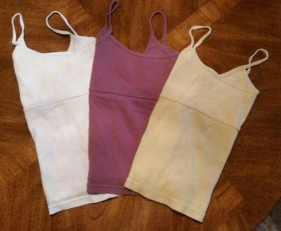 Lot of 3 Vintage Women's Camisoles Solid (White Yellow Purple) Size Large