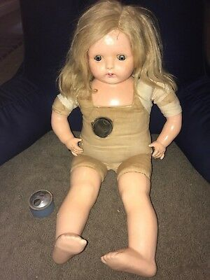 """26"""" phonograph doll working composition doll with one cylinder Madame Hendren(?)"""