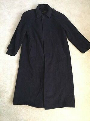 Brooks Brothers Made In Italy 100% Pure New Wool Black Mens Trench Coat Size 40L