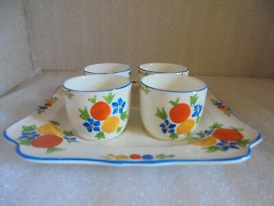 Charming Crown Ducal Egg Cup And Tray Set- Hand Decorated