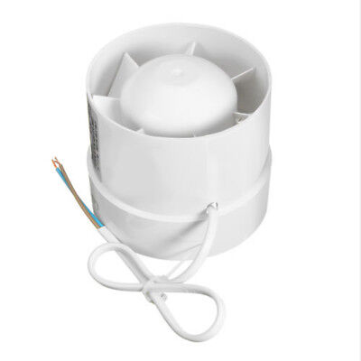 White 4 Inline Duct Fan Booster Exhaust Blower Air Cooling Vent ABS Blade