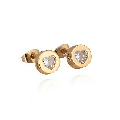 Women's Heart Ear Stud Earrings Fashion Jewelry 18K Yellow Gold Filled Gift