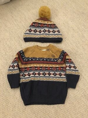 Next Baby Boy Knitted Fairisle Jumper And Bobble Hat 0-3 Months Navy Mustard