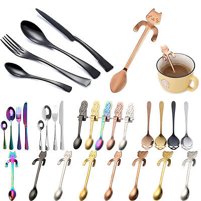 Stainless Steel Cutlery Sets Tea Spoon Knife Forks Colorful Dining Tableware New