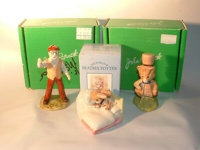 Lot Of 3 Beswick Beatrix Potter England Figurines Boxes Mr Mcgregor Peter In Bed