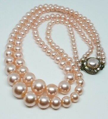 """Vintage Art Deco Rose Pink Graduated Genuine Pearl Double Strand 15.5"""" Necklace"""