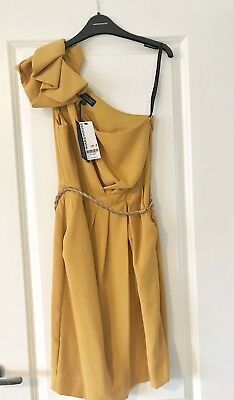 Warehouse Spotlight Ladies Mustard Yellow Occassion Dress - Size 8 BNWT RRP £75!